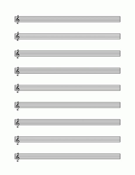 Notenpapier mit Violinschlüssel (9 Zeilen pro Seite)