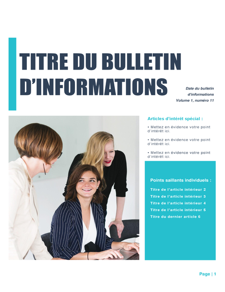Bulletin d'information (thème Simple, 4-col., 6-pp.)