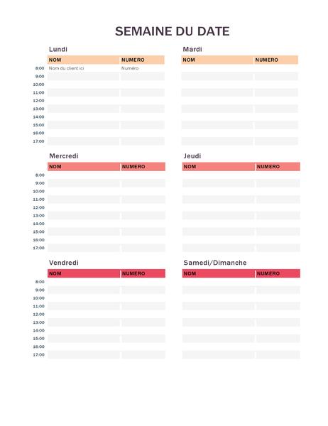 Agenda voor wekelijkse afspraken