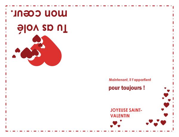 Carte de Saint-Valentin (avec cœur, pliable en quatre)