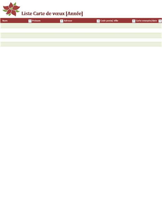 Liste Carte de vœux