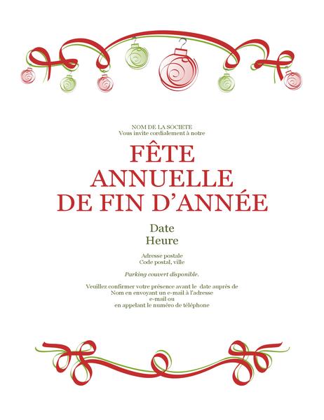 Invitation à une fête de fin d'année avec ornements et ruban rouge (conception formelle)