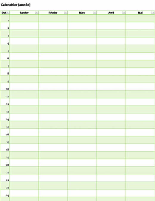 Eeuwigdurende kalender voor elk willekeurig jaar (verticaal)