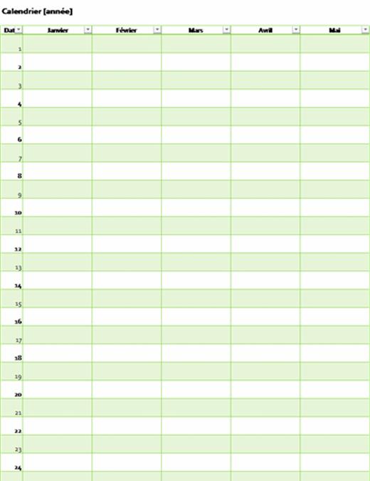 Calendar (any year, vertical)