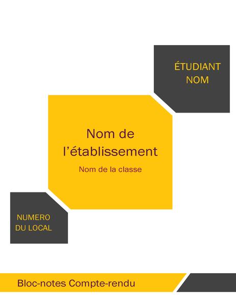 Panoplie pour cahier de rapport d'étudiant (couverture, étiquette, intercalaires)