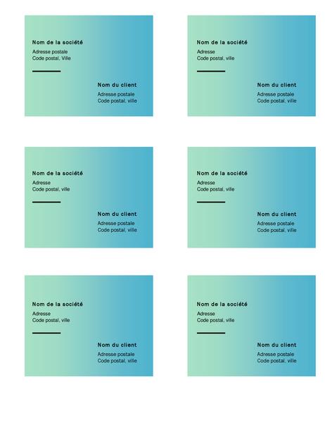 Étiquettes d'expédition (conception avec dégradé de verts, 6 par page, pour support Avery 5164)