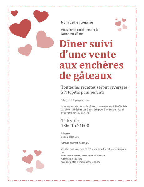 Invitation à une vente aux enchères de gâteaux pour la Saint-Valentin