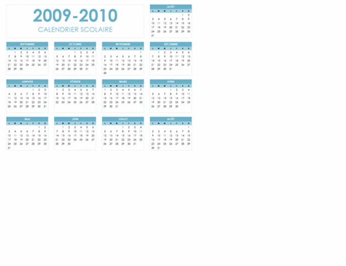 Calendrier scolaire 2009-2010 (1page, paysage, lun-dim)