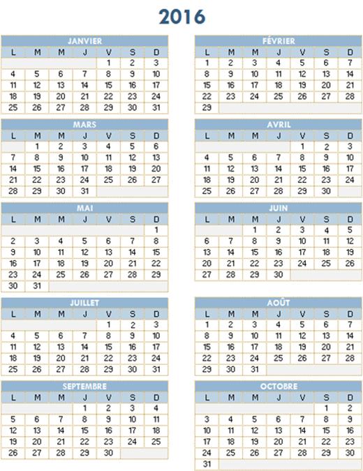 Calendrier annuel2016-2025