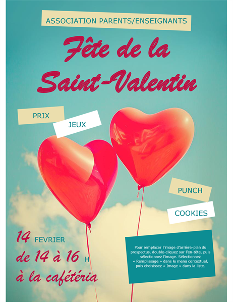 Handzettel zum Valentinstag mit Herzballons