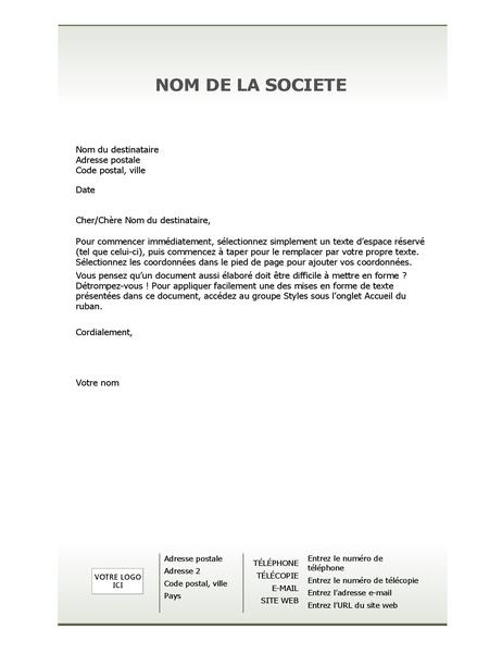 Papier à en-tête de lettre professionnel (simple)
