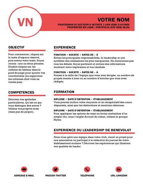 CV soigné, conçu par MOO