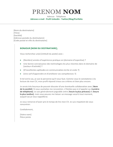 Lettre de motivation chronologique moderne