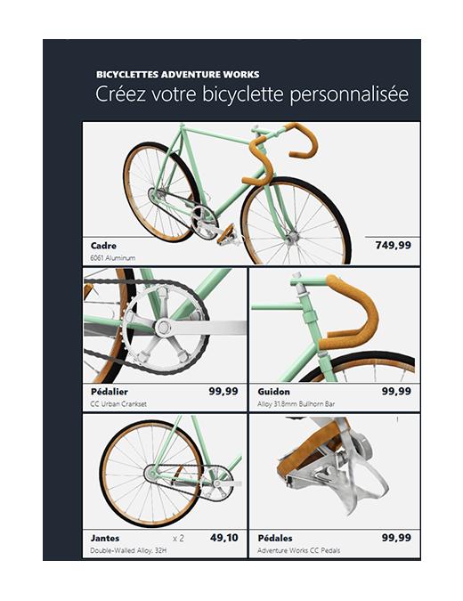 Catalogue de produits Excel 3D (modèle Bicyclette)
