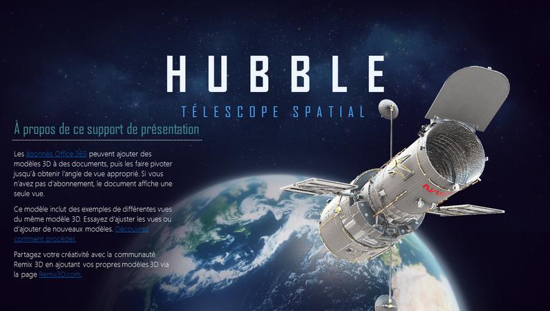 Présentation PowerPoint3D (modèle Télescope Hubble)