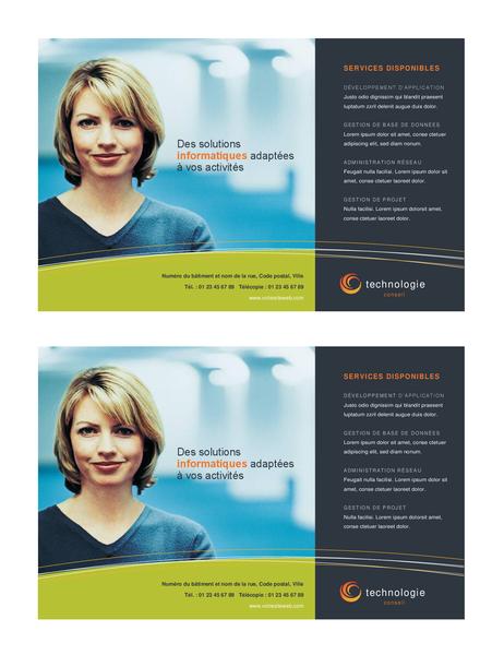 Handzettel für Technologiebranche (halbseitig, 2 pro Seite)
