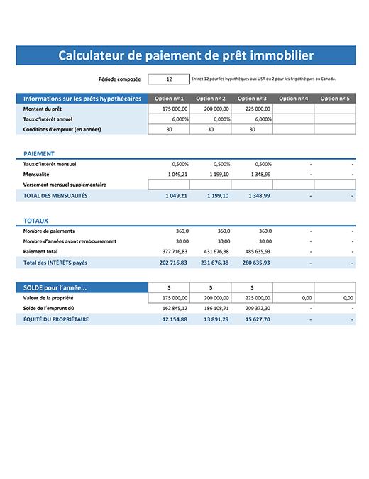 Calculateur de paiement pour les prêts hypothécaires