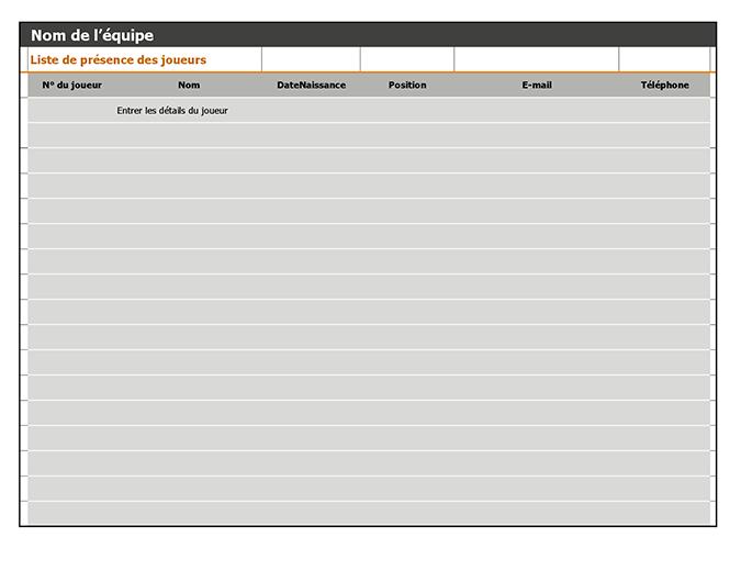 Tableau des équipes, planning et calendrier