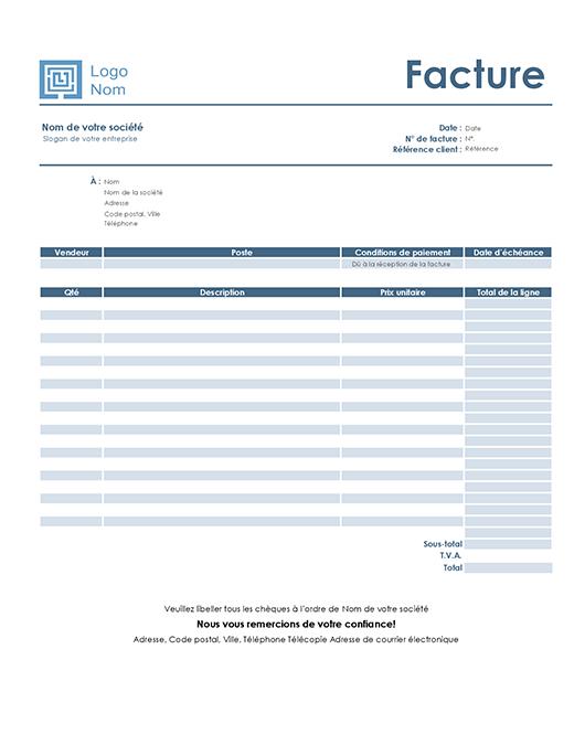 Modèle Simple Bleu de facture de service