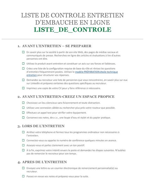 Liste de contrôle Entretien d'embauche