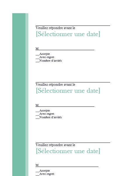 Antwoordkaarten bruiloft (3 per pagina)
