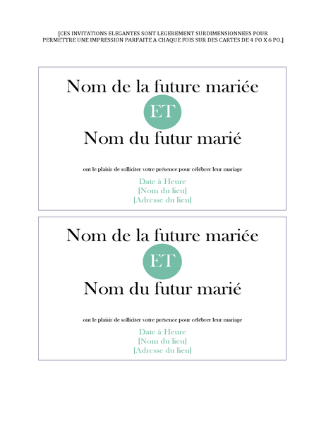 Invitation de mariage simple (2 par page)