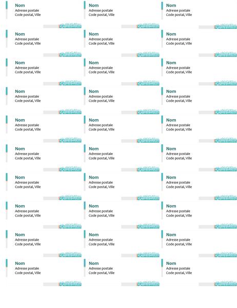 Étiquettes d'adresses techniques minimalistes (30 par page)