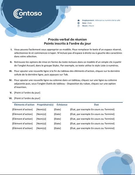 Procès-verbal de réunion Sphères bleues