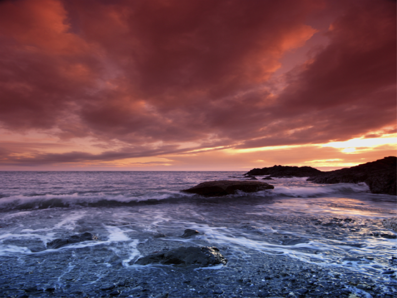 Thème mer - Couché de soleil rouge