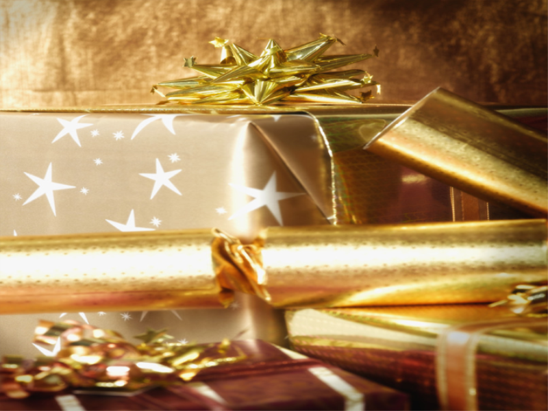 Thème noel - Cadeaux dorés