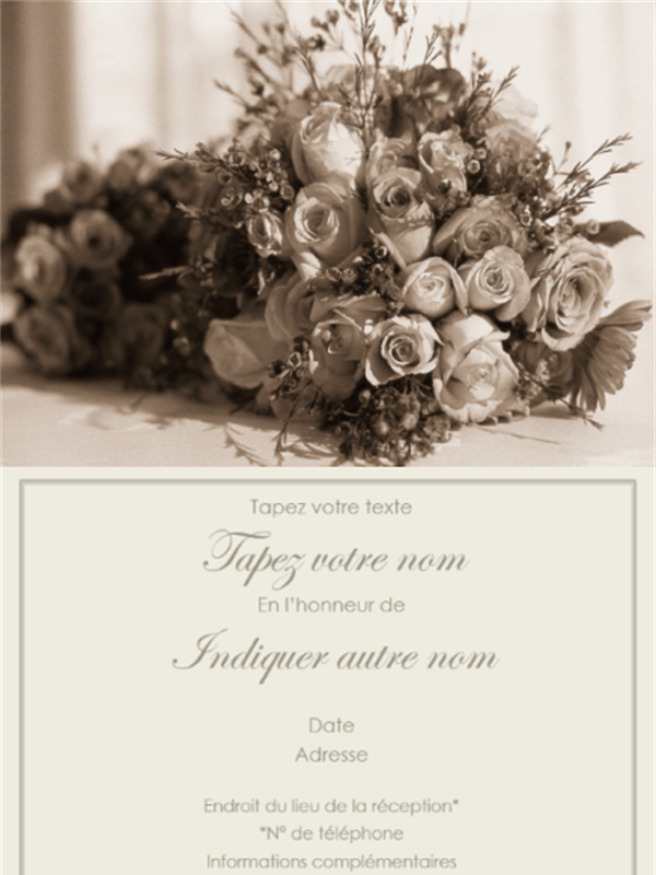 Thème mariage - Carte d'invitation