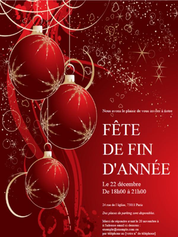 Thème noel - Invitation fête de fin d'année (rouge)
