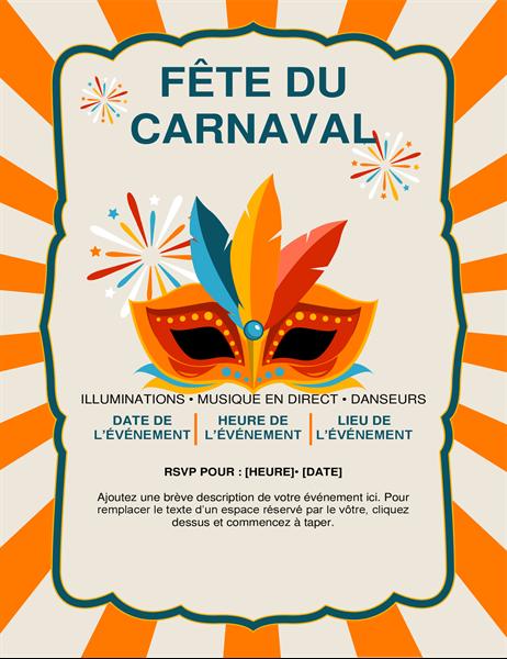 Handzettel mit Karnevalsmaske
