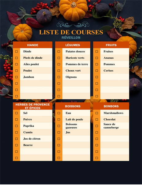 Liste de courses généreuse pour Thanksgiving