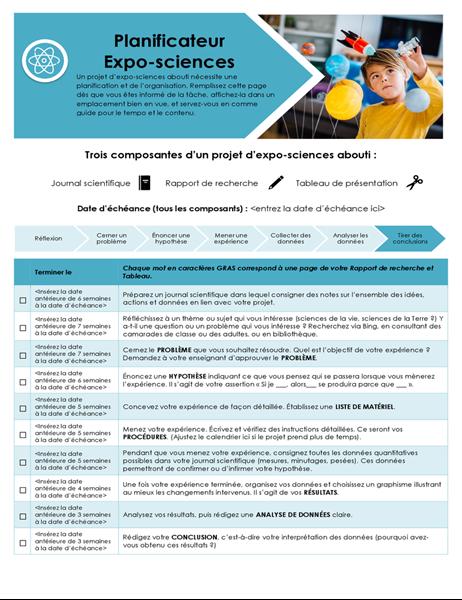 Planer für naturwissenschaftliche Projekte