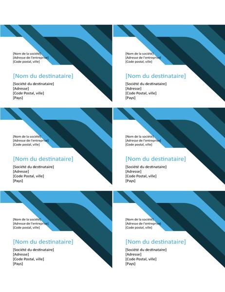 Etiketten met hoeken en curven (6 per pagina)