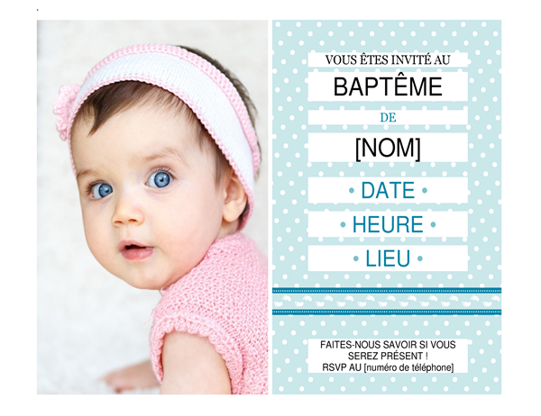 Invitation à un baptême avec photo