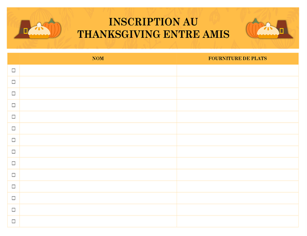 Inscription au Thanksgiving entre amis
