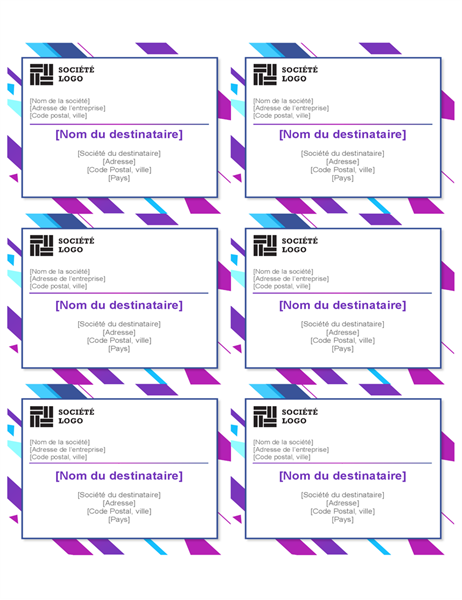 Etiketten mit lila Grafik (6 pro Seite)