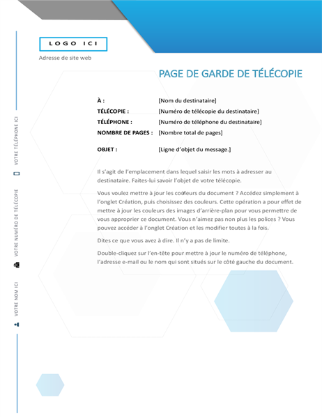 Page de garde de télécopie hexagonale
