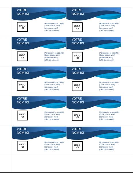 Cartes de visite avec courbe bleue
