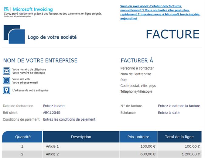 Facture standard avec Microsoft Invoicing