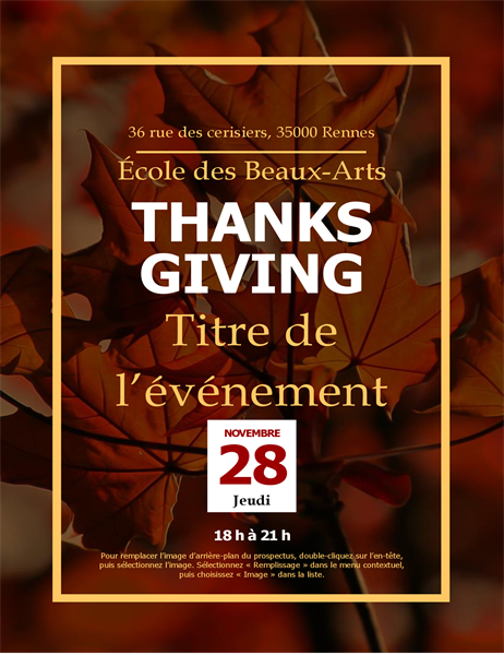 Thanksgiving-flyer Herfstbladeren