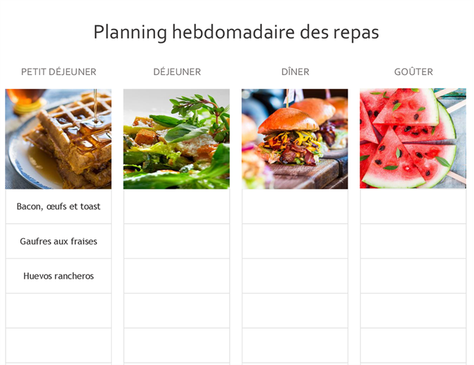 Planning des repas simple