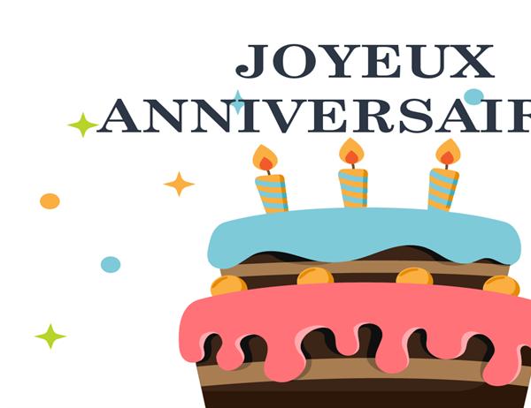 Carte d'anniversaire représentant un gros gâteau