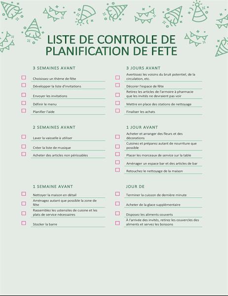 Controlelijst voor planning feest