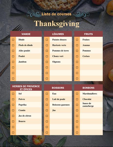 Liste de course de Thanksgiving