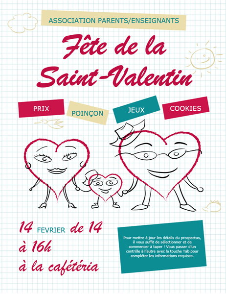 Prospectus de Saint-Valentin dessins de cœurs