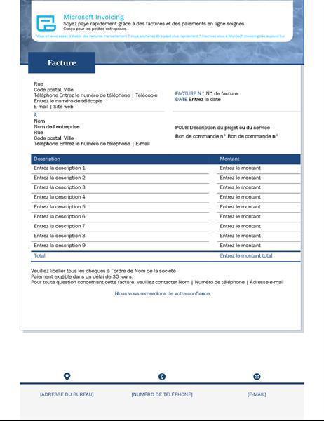 Rechnung für Dienstleistungen mit Microsoft Invoicing