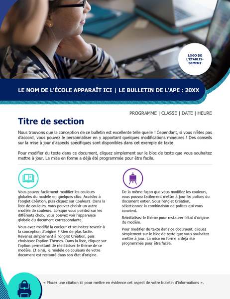 Bulletin d'informations pour association de parents d'élèves